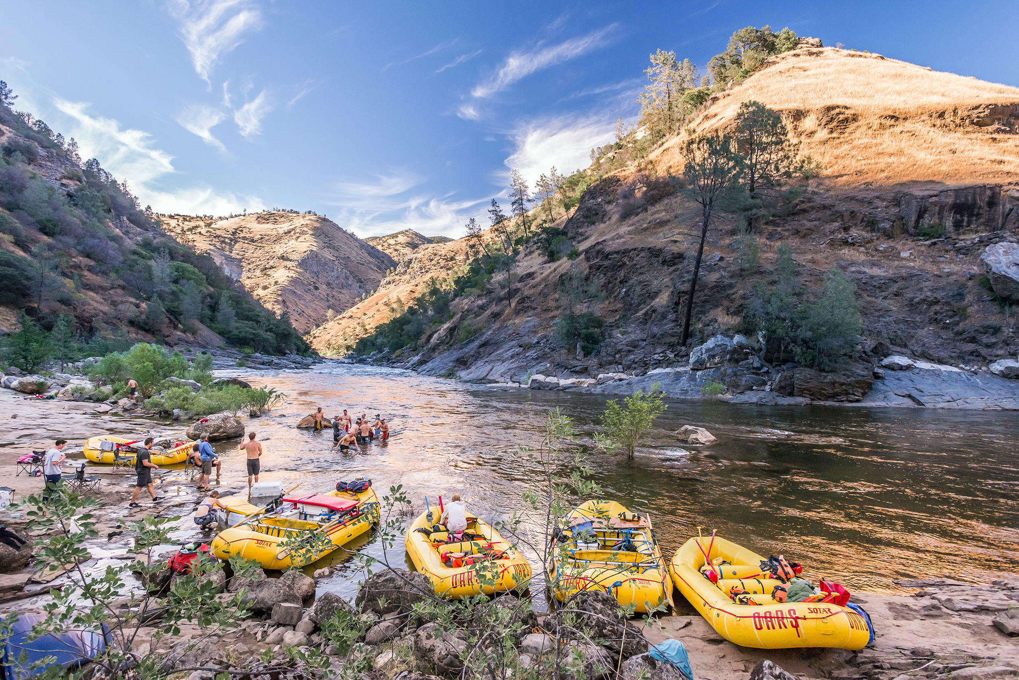 After a fun day of rafting on the Tuolumne River near Yosemite National Park, and a tasty dinner, a