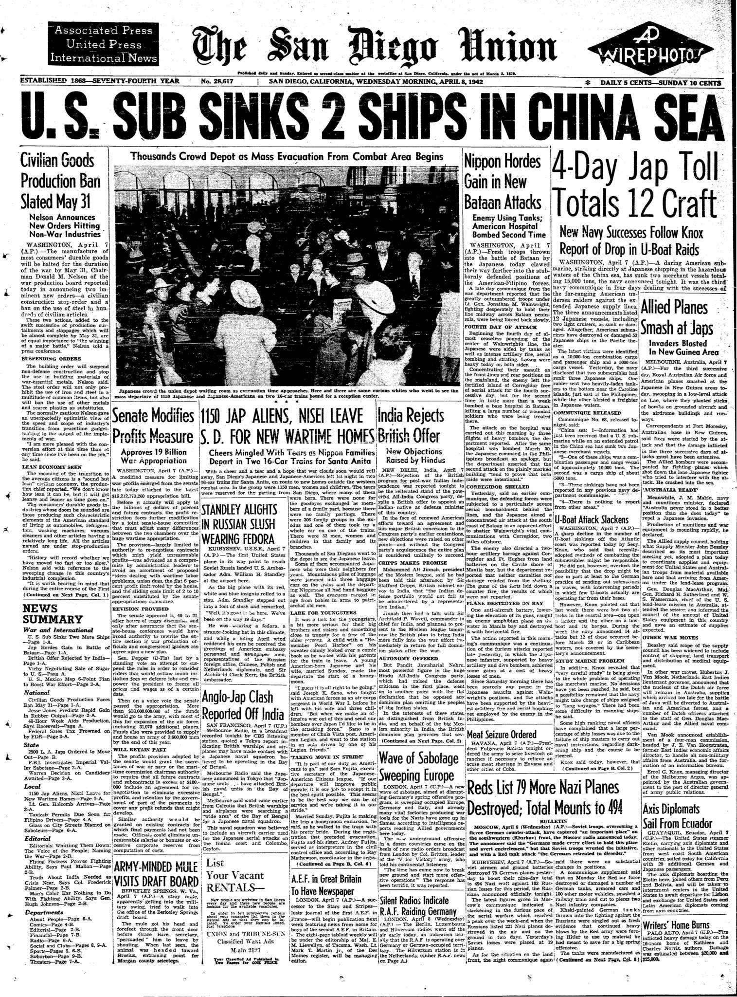 April 8 1942 San Diegans Leave For Internment Camps