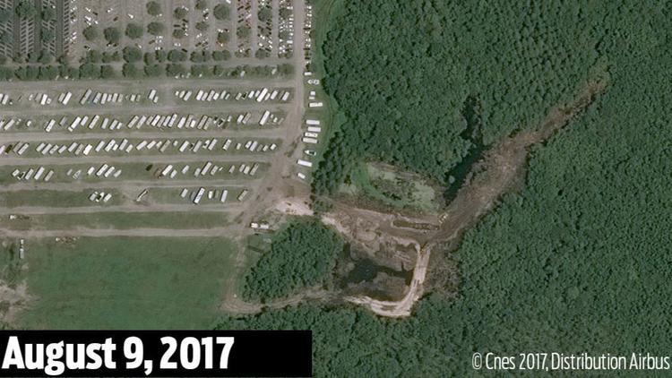 Wetlands bulldozing is apparent through last summer.