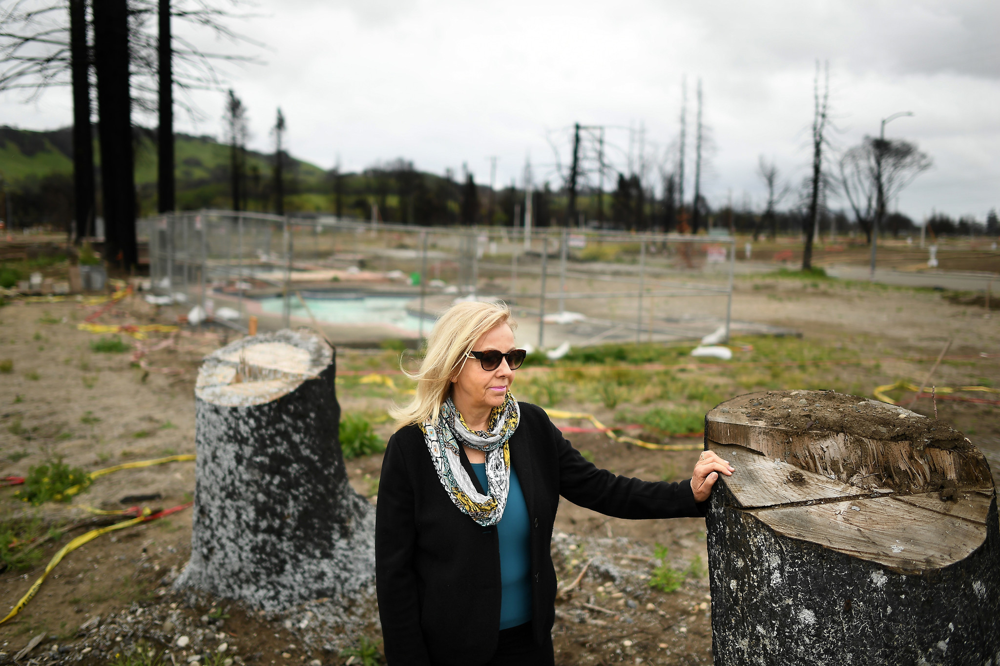 SANTA ROSA, CALIFORNIA APRIL 11, 2018-Real estate agent Sylvia West stands in the empty lots at Mark