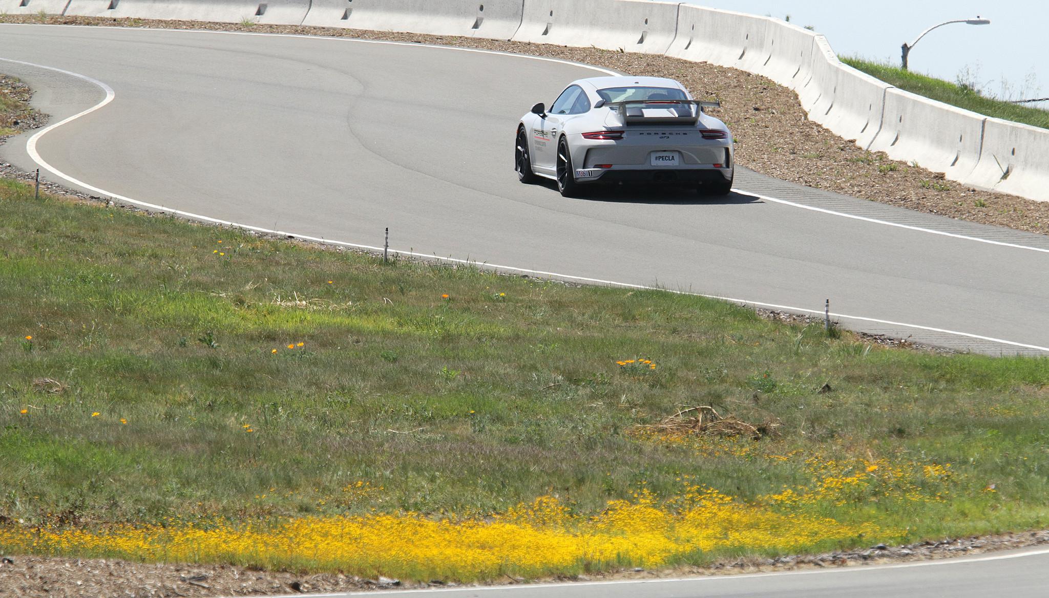 CARSON, CA-APRIL 10, 2018: A Porsche GT3 negotiates the Handling Circuit at the Porsche Experience C