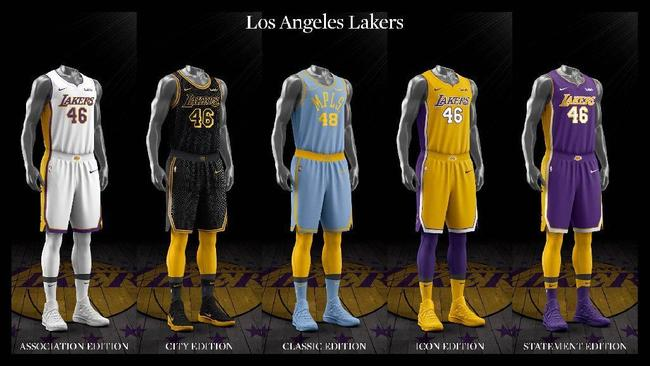 low priced 68d5b 037fd Los Angeles Lakers uniform set, 2017-18.