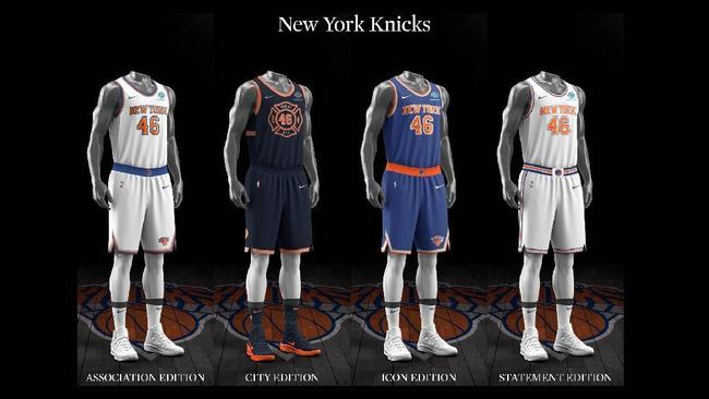 huge selection of 9df4f 0b425 New York Knicks uniform set, 2017-18. Courtesy of NBA