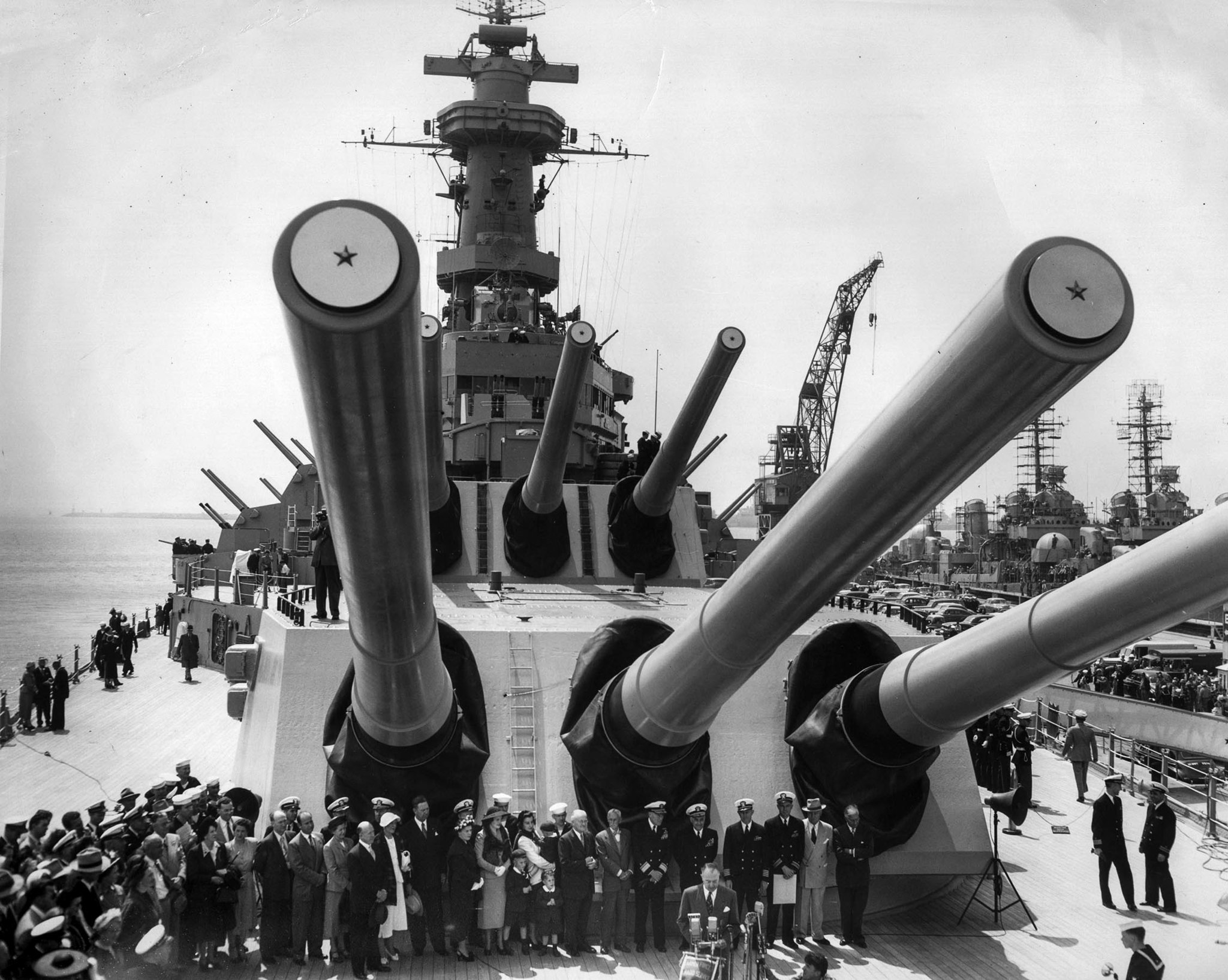 April 12, 1951: Ceremoney on the USS Missouri in Long Beach, CA. following the ship's return from