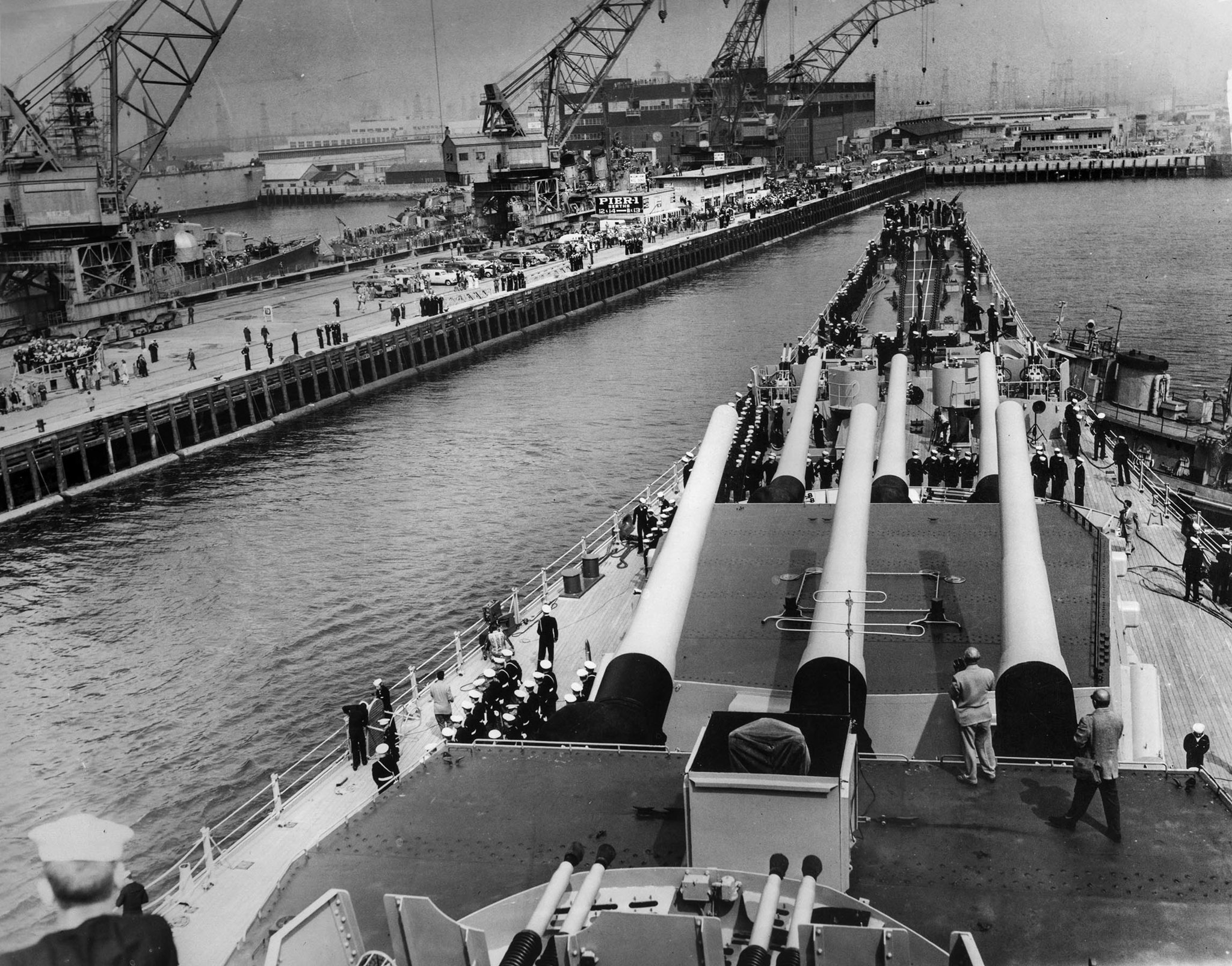 April 12, 1951: View from the USS Missouri as the battleship returns to Terminal Island after deploy