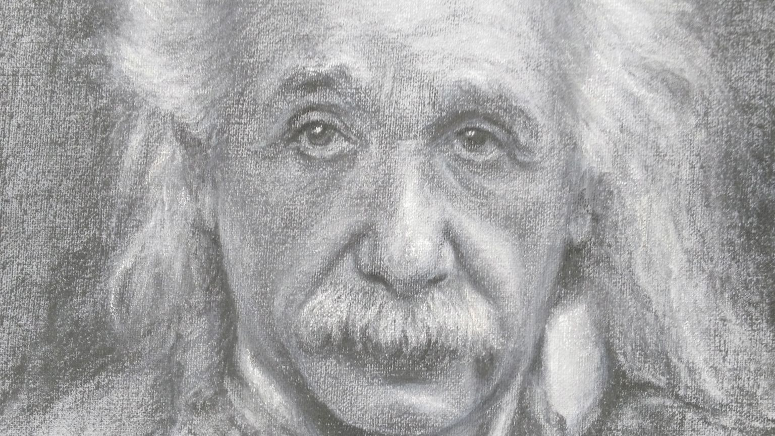 This charcoal rendering of Albert Einstein is among the many works of art Judy Nachazel creates in her home studio in Ramona.