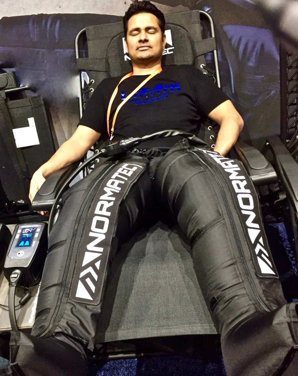 Inflatable recovery pants. Designed to provide massage-style recovery running or cycling, NormatecR