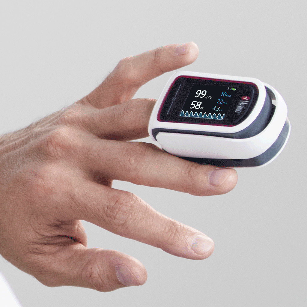 The Masimo MightySat pulse oximeter.