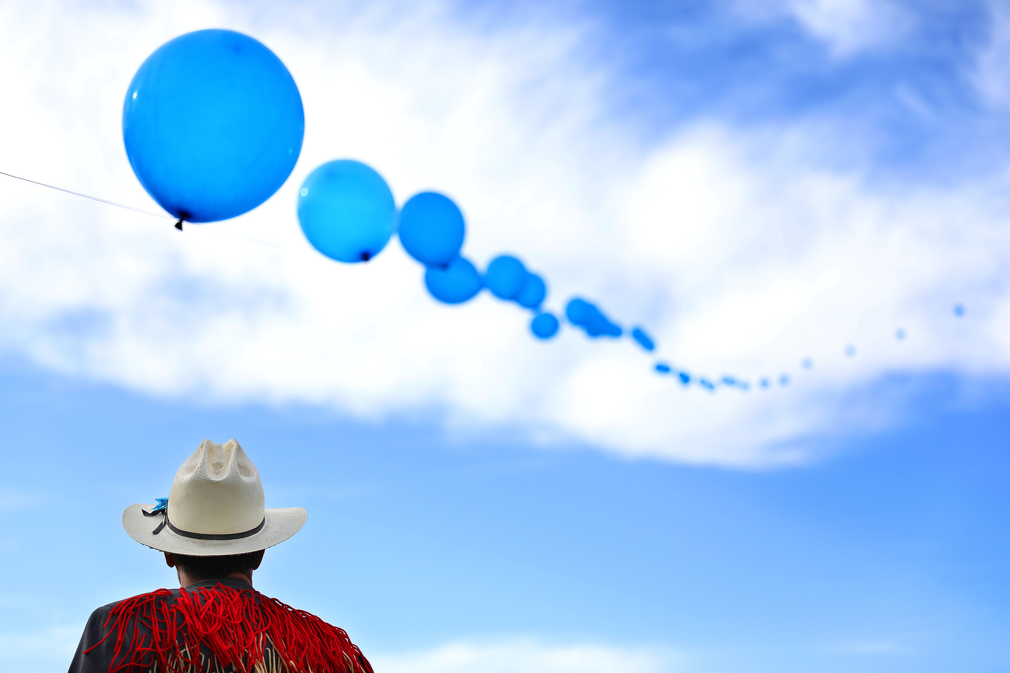 INDIO-CA-APRIL 20, 2018: Chris Wagganer, a crew member with the balloon chain, is photographed at Co