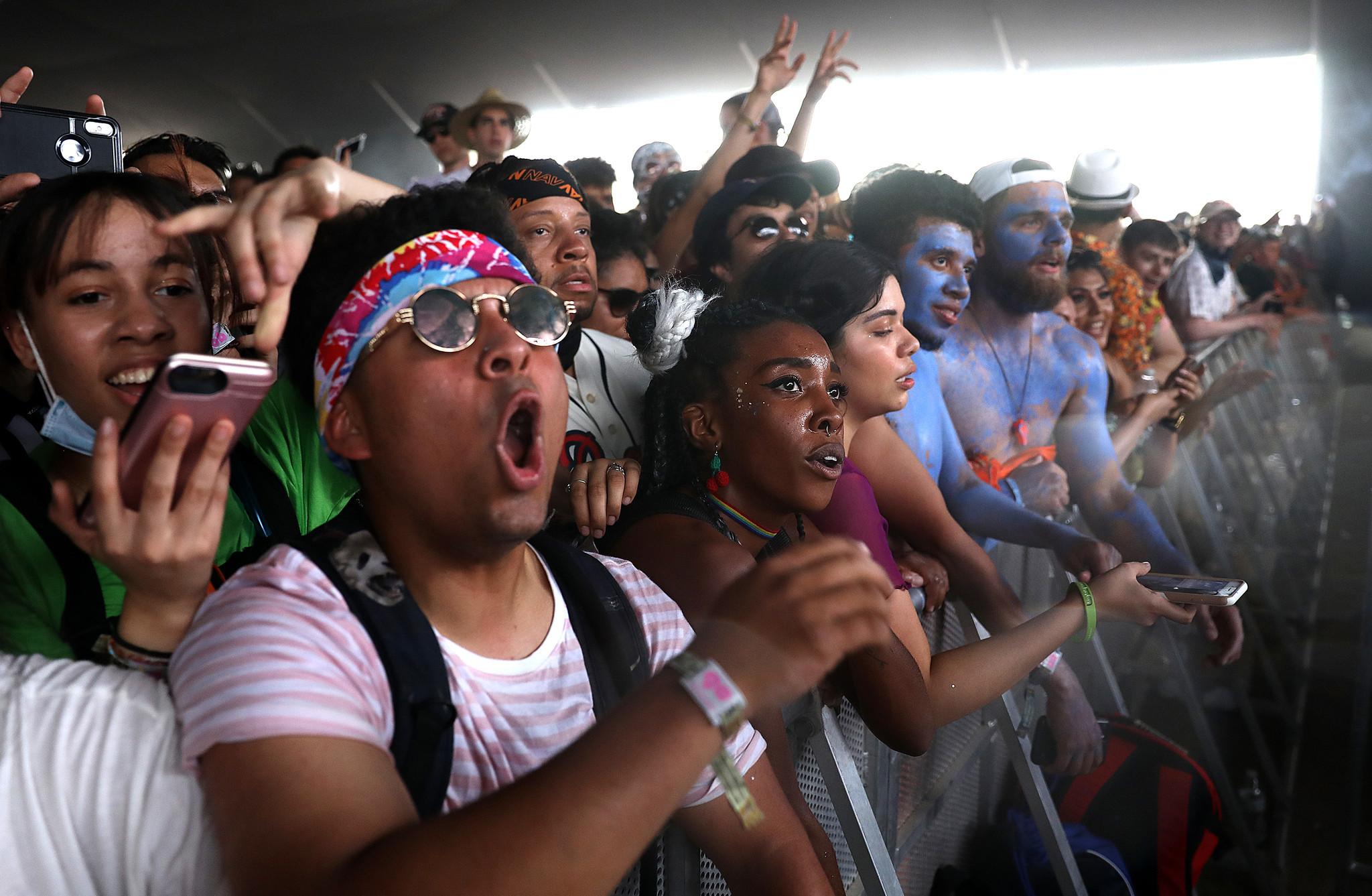 INDIO-CA-APRIL 21, 2018: Fans watch Brockhampton perform at Coachella Weekend 2 on Saturday, April 2