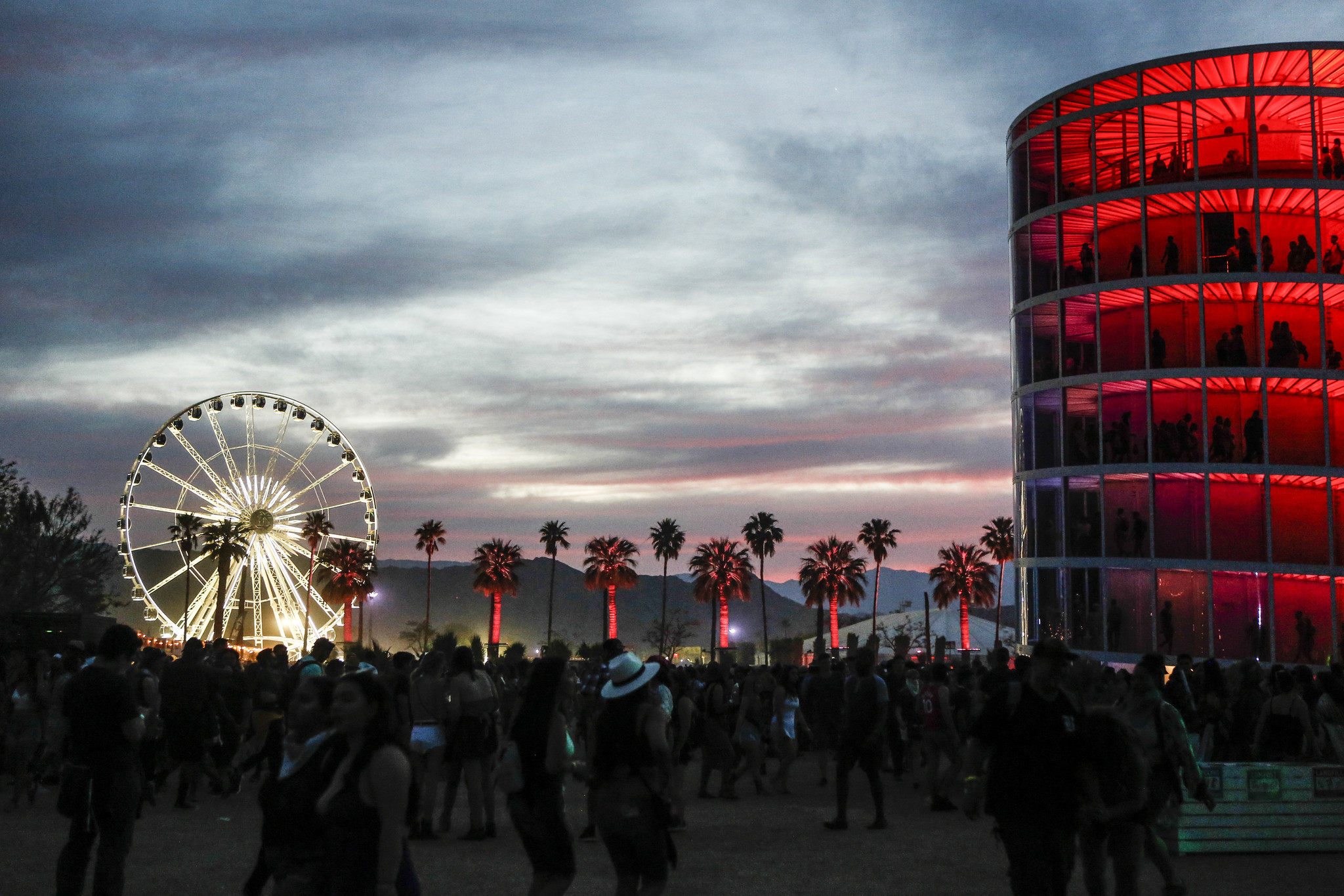 INDIO,CA — SATURDAY, APRIL 21, 2018-- Sun setting at the Coachella Valley Festival during weekend