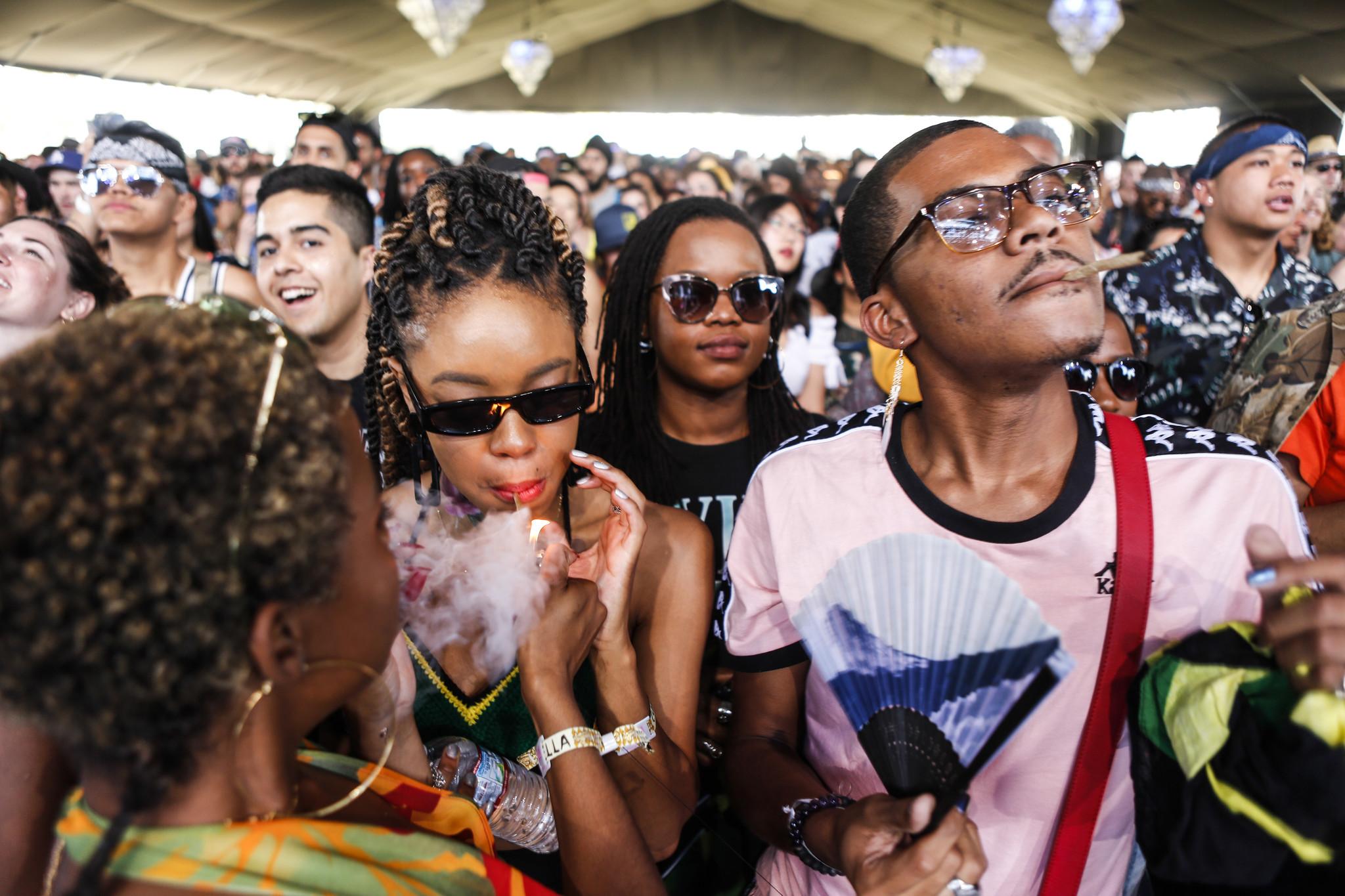 Fans enjoy the sounds of Kelela's performance at Coachella week two.
