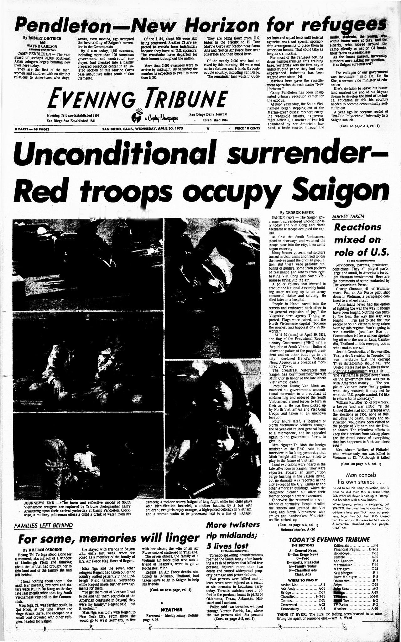April 30, 1975: Refugees arrive at Camp Pendleton - The San