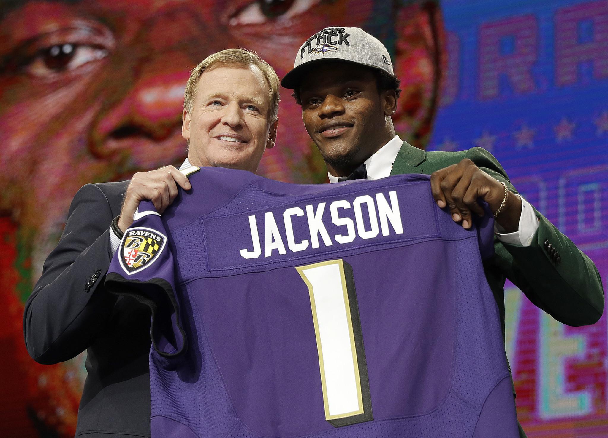 new product d43a3 53e04 Ravens QB Lamar Jackson at the draft - Baltimore Sun