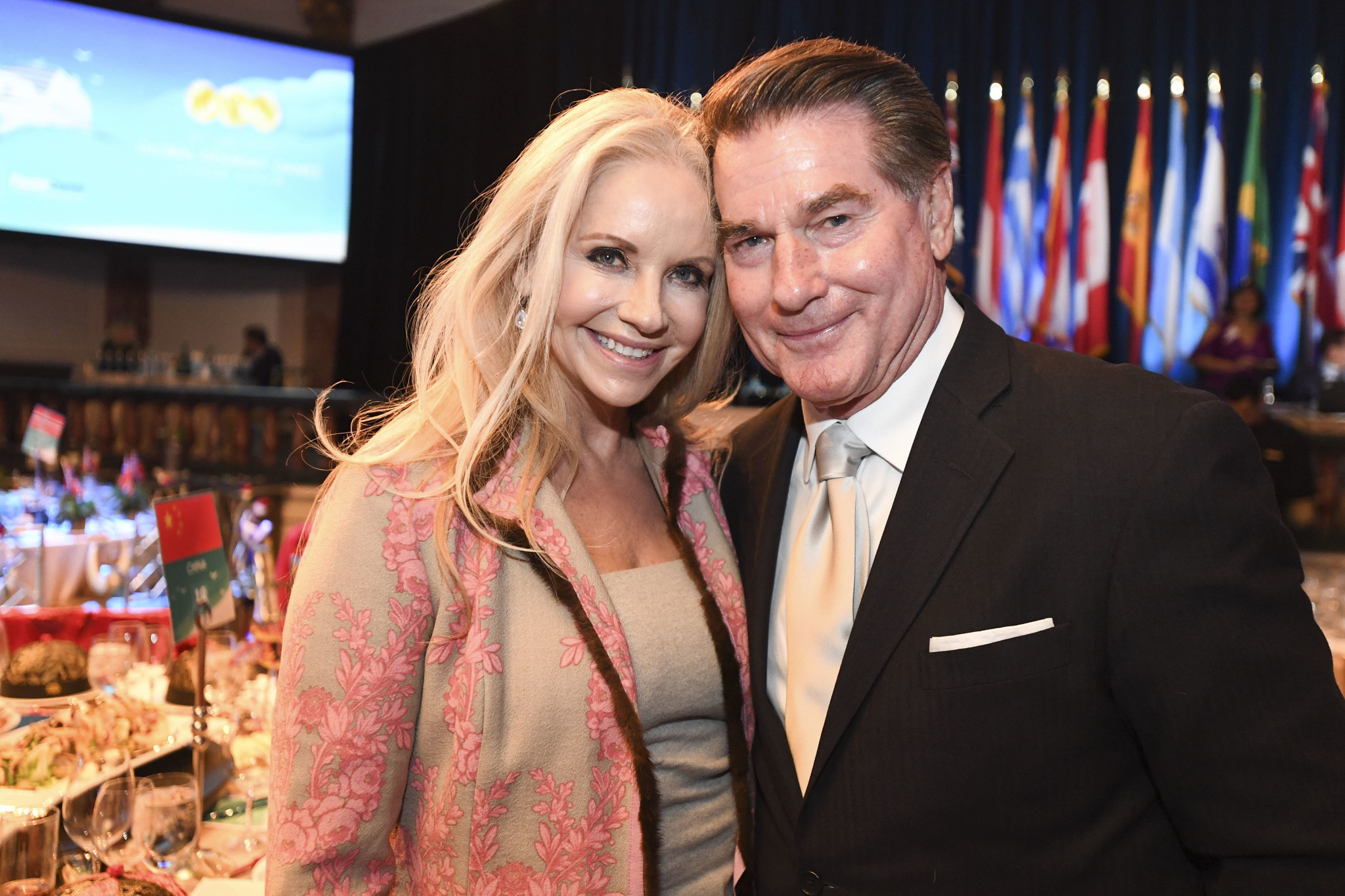 Candace Garvey and former Dodgers star Steve Garvey before changing into their costumes for the Global Gourmet Games.