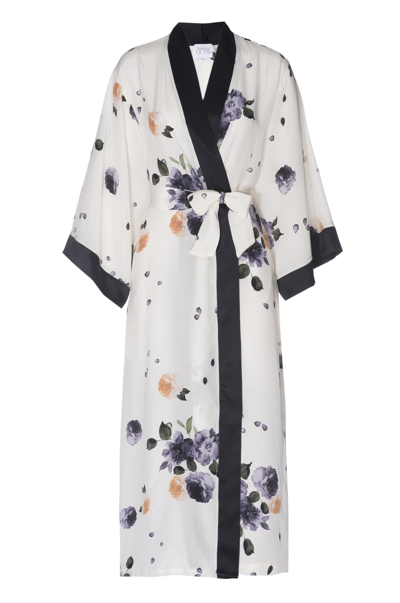 Helena Quinn's full-length Garden floral-print silk robe.