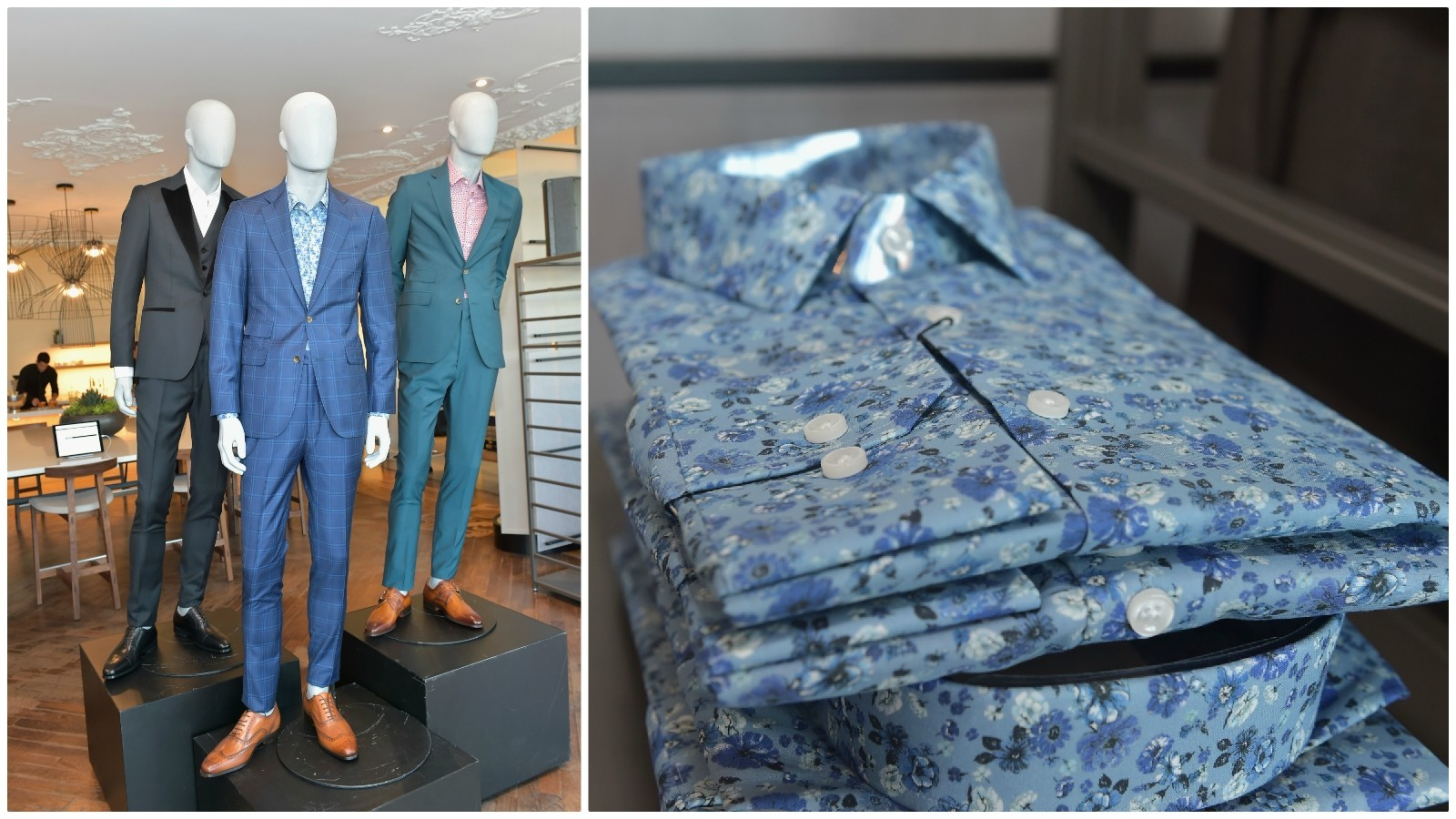 The Strong Suit by Ilaria Urbinati collection includes suits (left) and boldly patterned shirts (right) as well as neckties (not pictured).