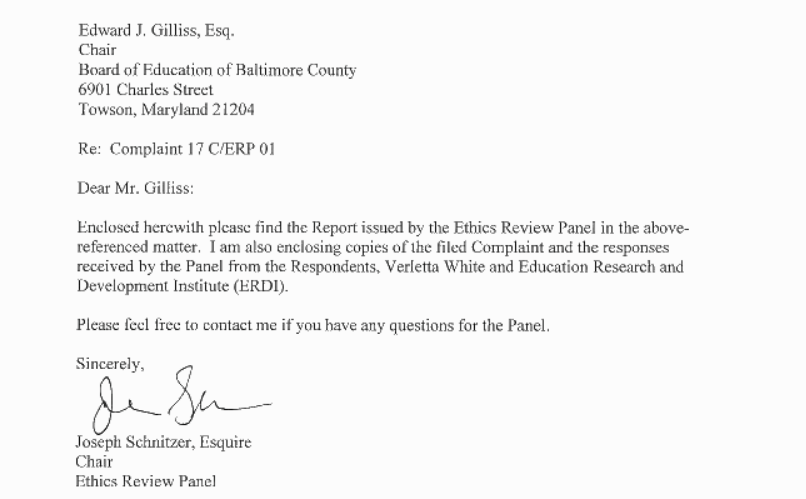 Document: Ethics Review Panel's complaint report on Verletta