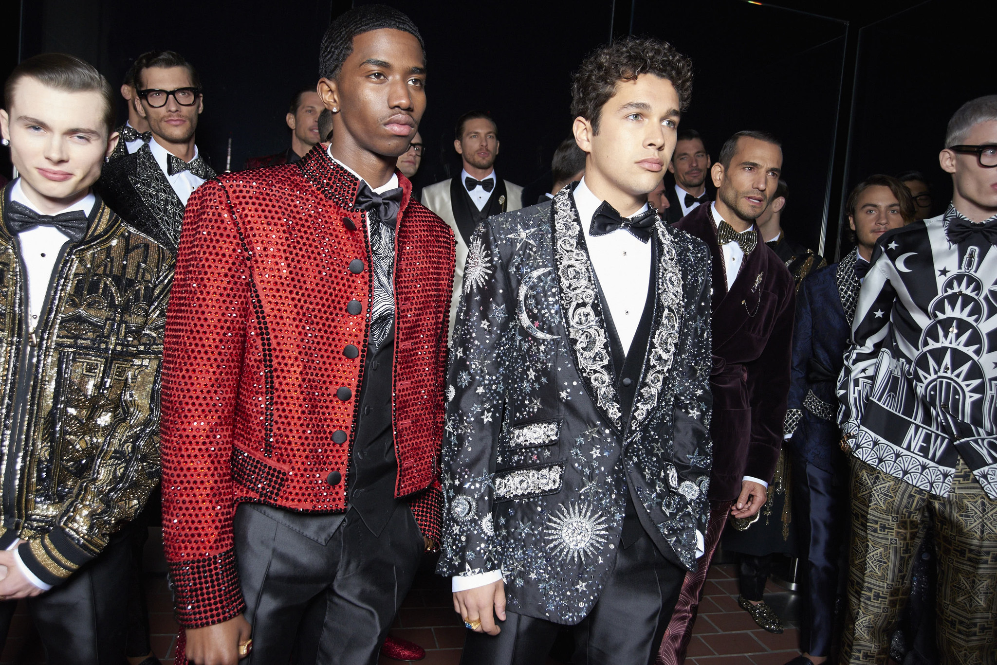 Jack Marsden, Christian Combs and Austin Mahone waiting backstage at the Dolce&Gabbana Alta Sartoria