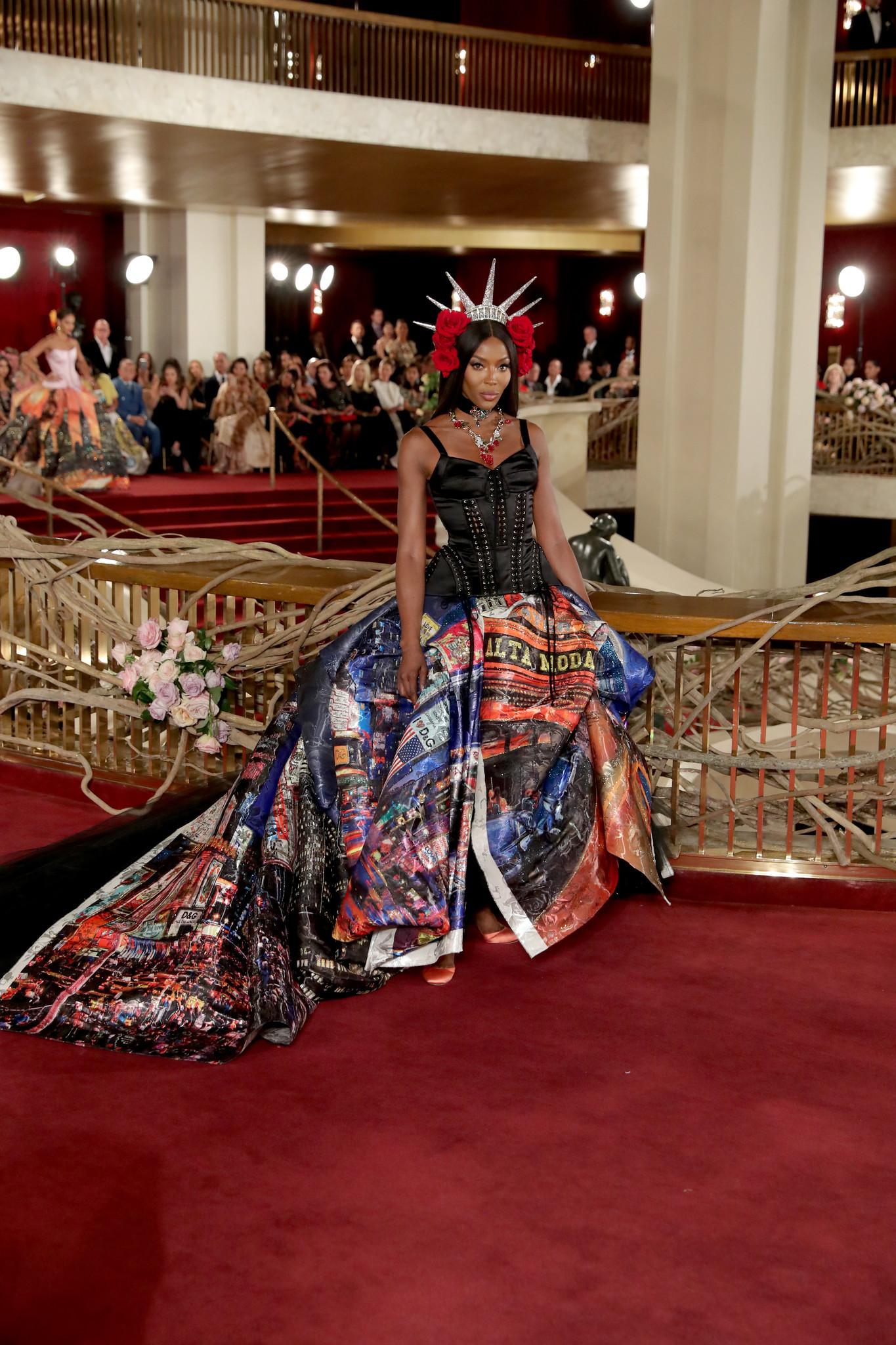 Naomi Campbell closes Dolce & Gabbana's Alta Moda show at the Metropolitan Opera in New York on April 8.