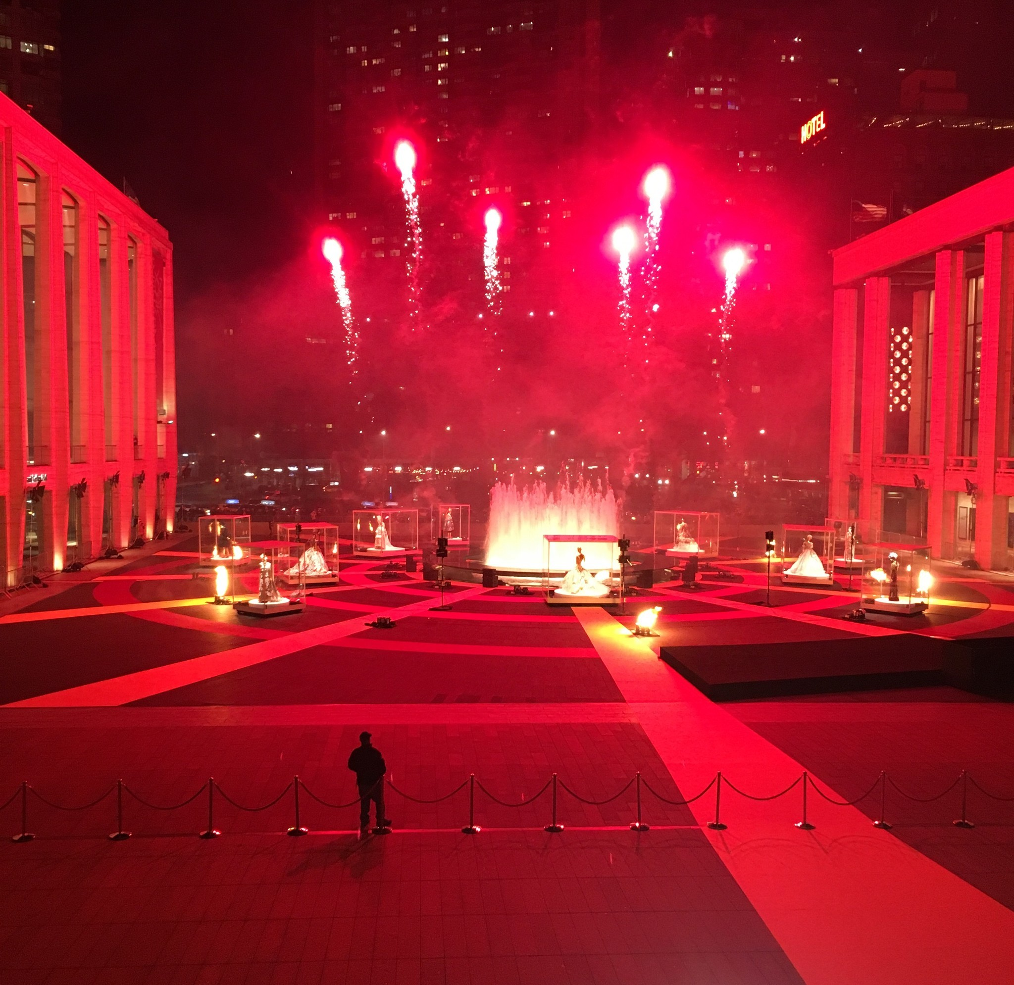After Dolce & Gabbana's Alta Moda show, clients and guests of the brand get to watch a fireworks display outside the Metropolitan Opera at Lincoln Center in New York.