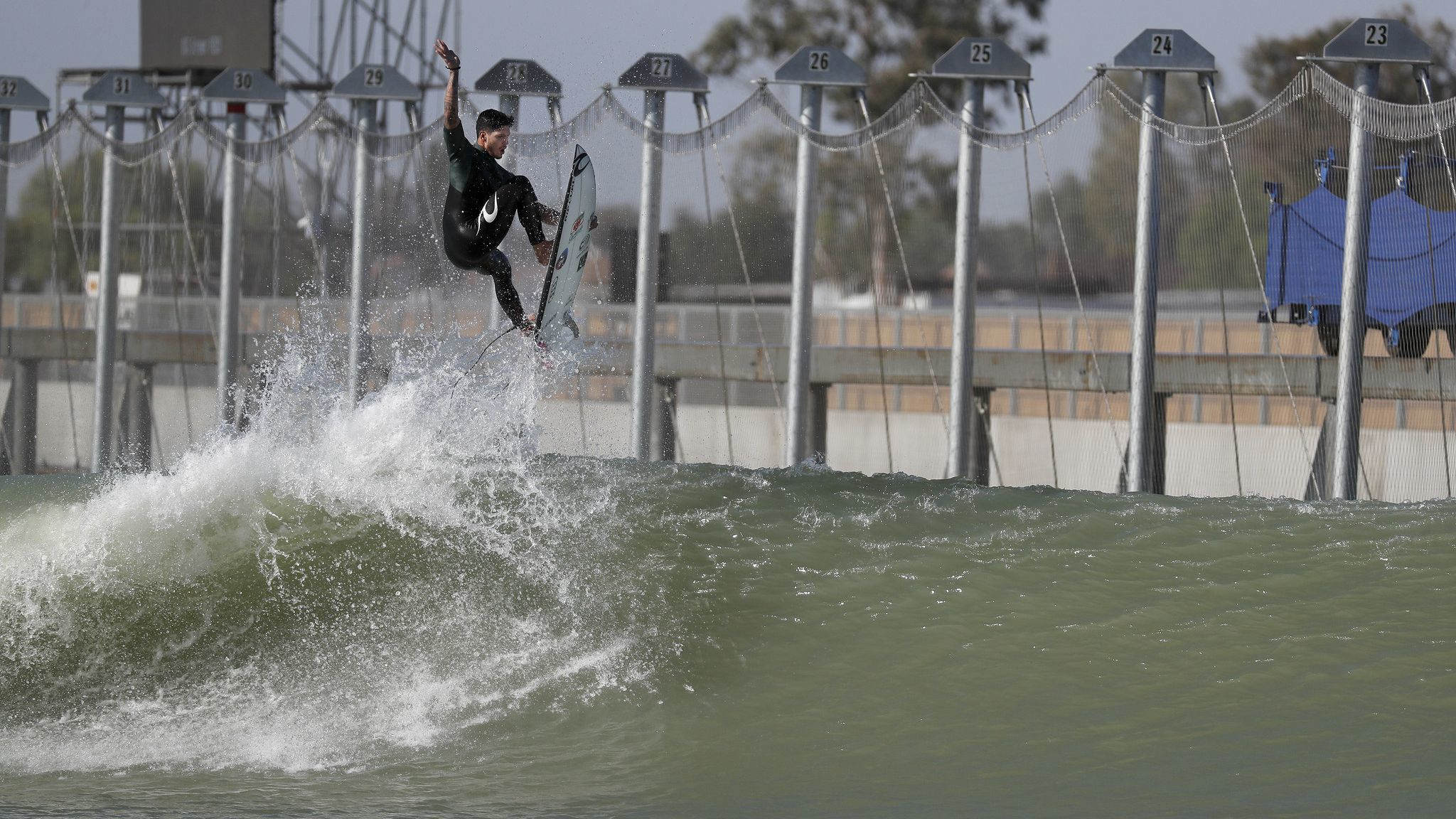 LEMOORE, CALIF. — THURSDAY, MAY 3, 2018: While riding the left, Gabriel Medina, of Brazil, does a