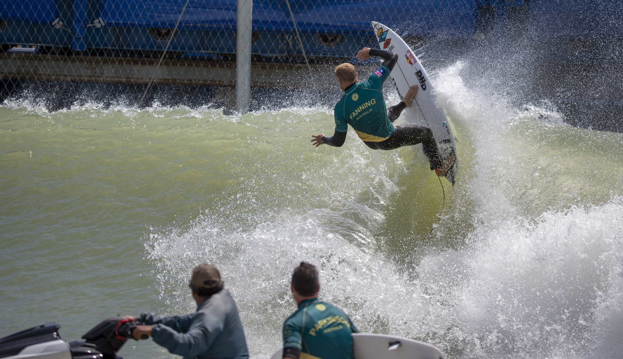 LEMOORE, CALIF. -- FRIDAY, MAY 4, 2018: Pro surfer Mick Fanning, of Australia, turns high off the to