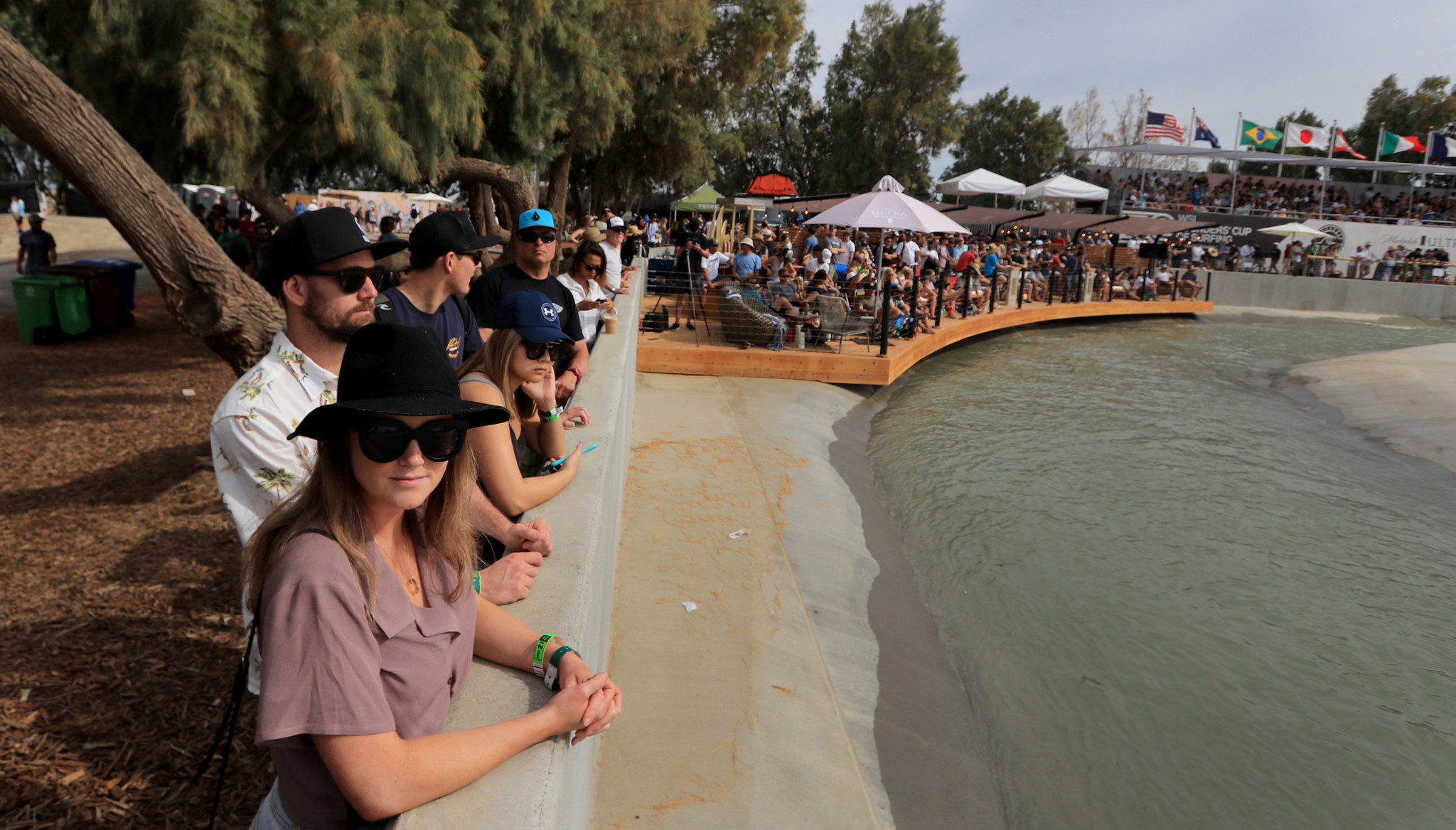 LEMOORE, CALIF. -- SATURDAY, MAY 5, 2018: Fans line the Surf Ranch pool to watch pro surfing come to