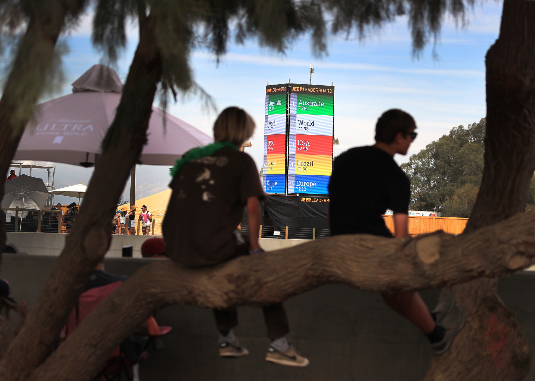LEMOORE, CALIF. -- SATURDAY, MAY 5, 2018: With a view of the team leader board, fans sit in trees an