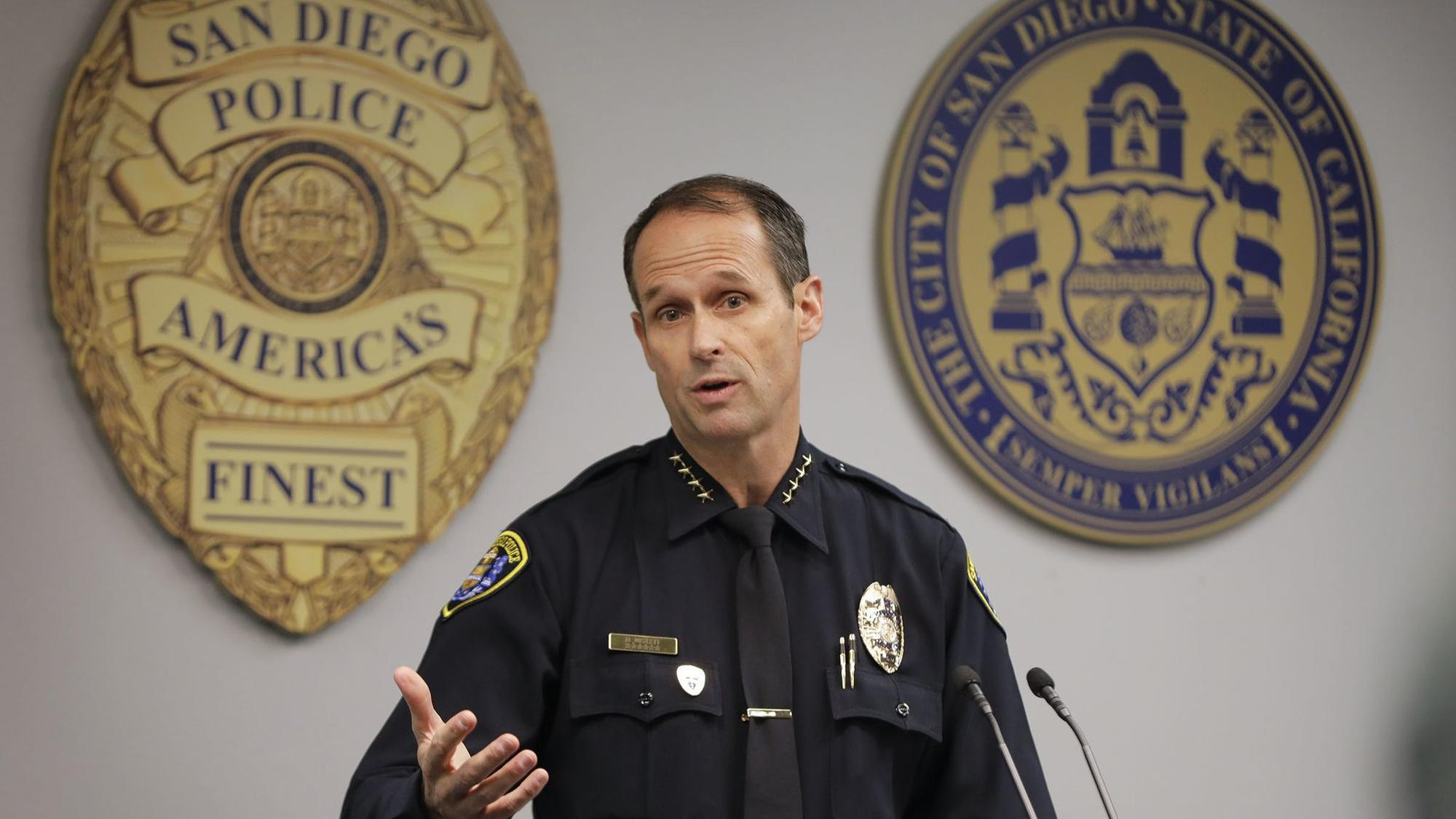 SAN DIEGO, CA: MARCH 16, 2018: San Diego Police Chief David Nisleit holds a press conference at pol