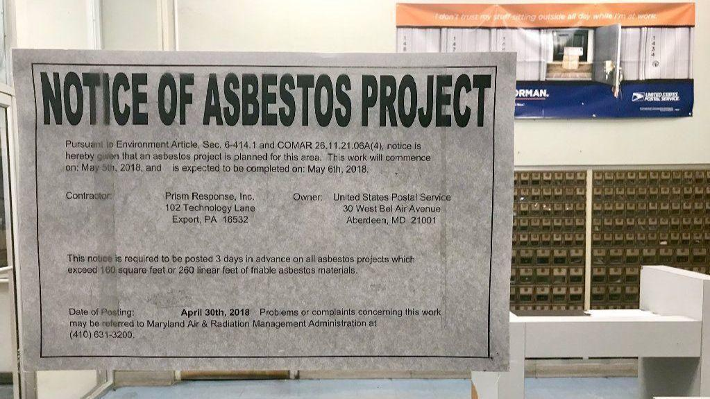 Asbestos Floor Tile Removal >> Asbestos warning posted, as floor tiles are replaced in