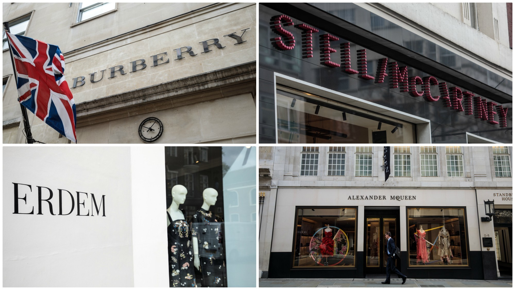 Burberry, clockwise from top left, Stella McCartney, Erdem and Alexander McQueen are some of the brands mentioned as possibly designing Meghan Markle's wedding gown.