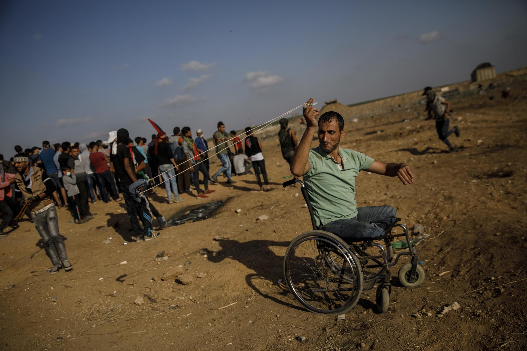 GAZA CITY, GAZA STRIP — FRIDAY, MAY 11, 2018: Sabir Al-Ashqar, who lost his legs in the 2008-2009 G