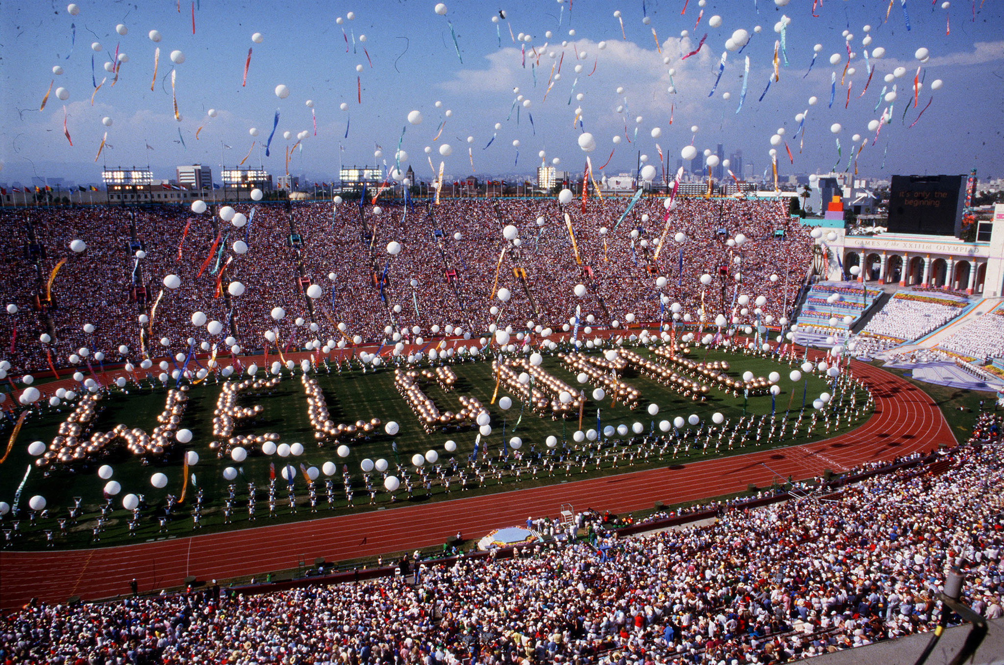 July 28, 1984: Scene at the Coliseum in Los Angeles during opening ceremonies of the Olympic Games.