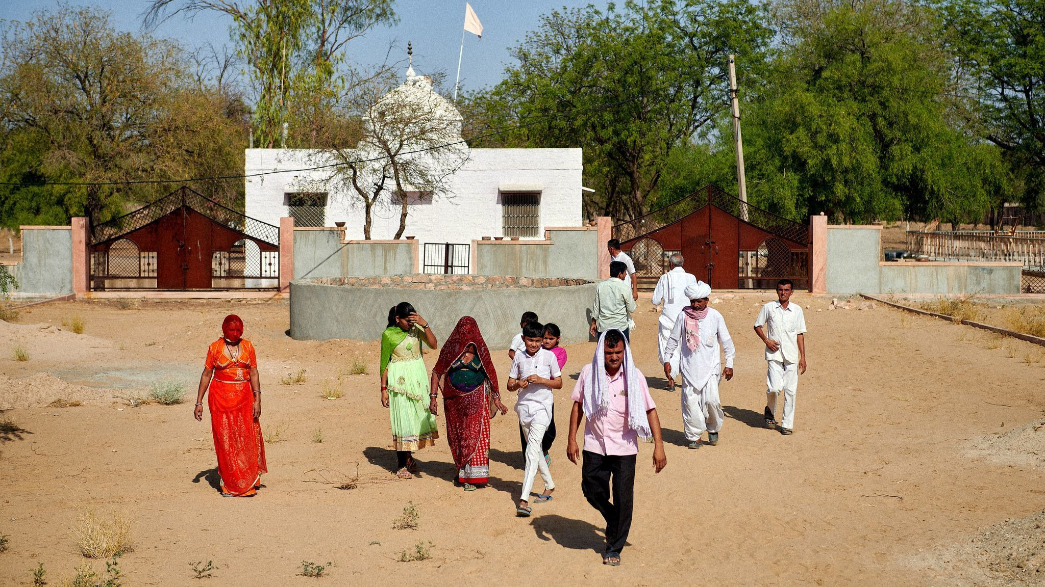 People of Bishnoi community visiting the Bishnoi temple commemorating the Khejarli Massacre.