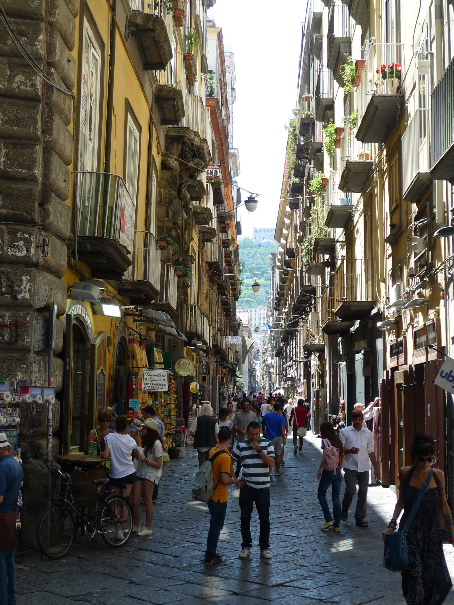 NAPLES, ITALY -The Spaccanapoli cuts through the historic center of Naples. This narrow, pedestrian-