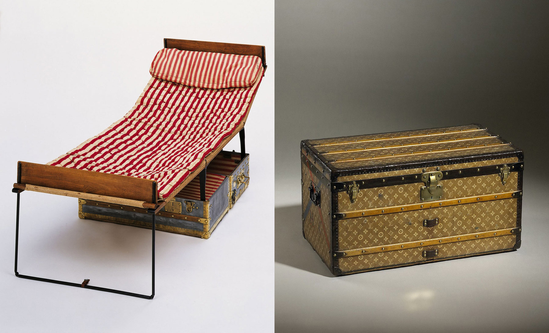 Louis Vuitton's zinc bed trunk, open with a fold-out bed, left. A Vuitton mail trunk with the brand's classic monogram, circa 1906.