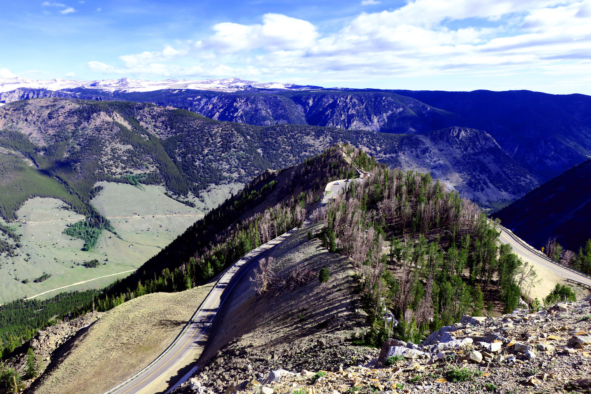A view of the roadway as it twists upward from Red Lodge on the Beartooth Highway.