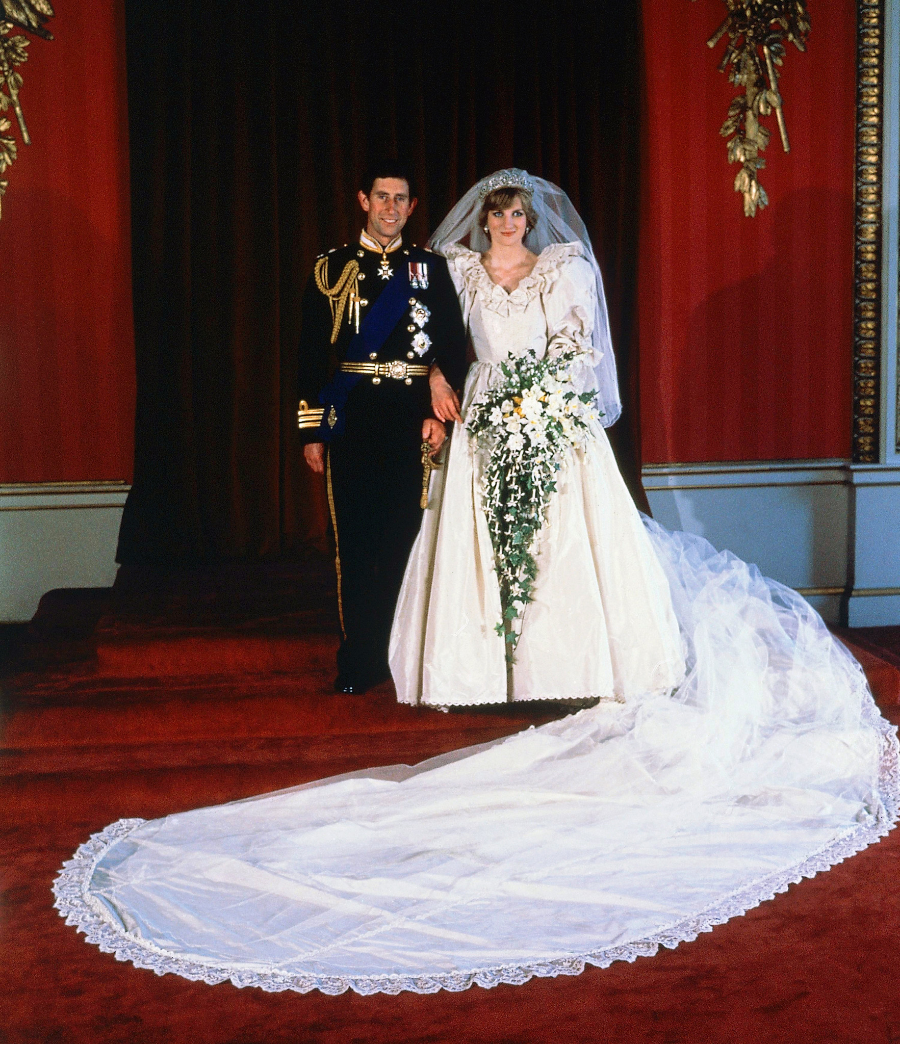 The formal wedding portrait of Prince Charles and Diana, Princess of Wales, taken at Buckingham Palace on July 29, 1981, after their marriage at Saint Paul's Cathedral, London.