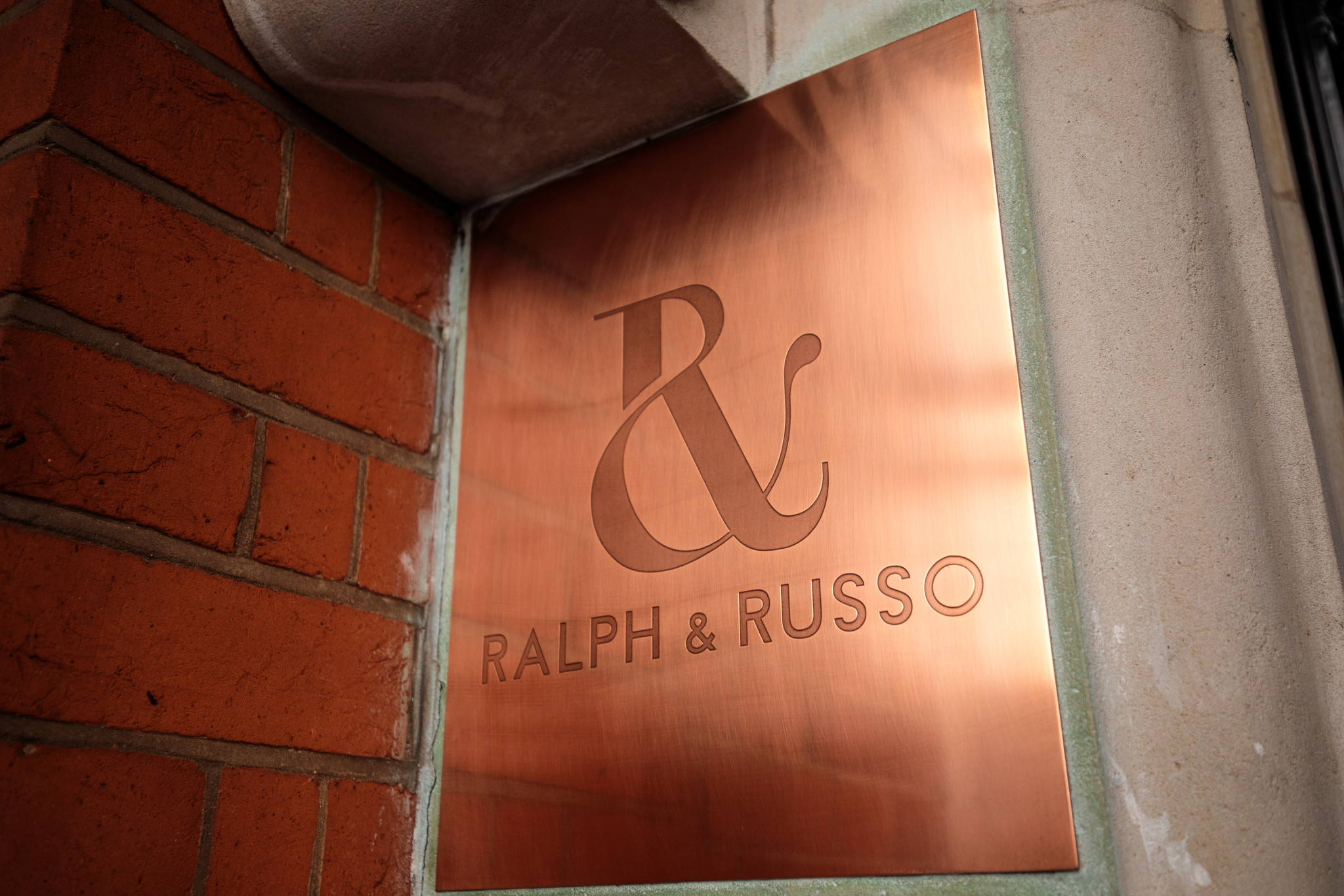A sign for the Ralph & Russo store in Mayfair in London. The designer for Meghan Markle's wedding dress hasn't been announced ahead of her wedding to Prince Harry on Saturday.