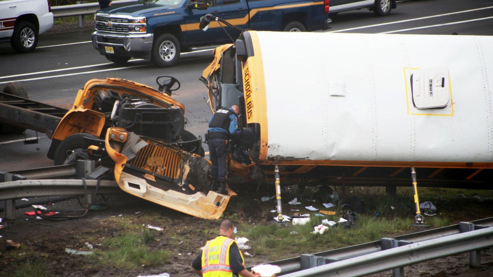 school bus collides with truck on i-80 in new jersey, killing