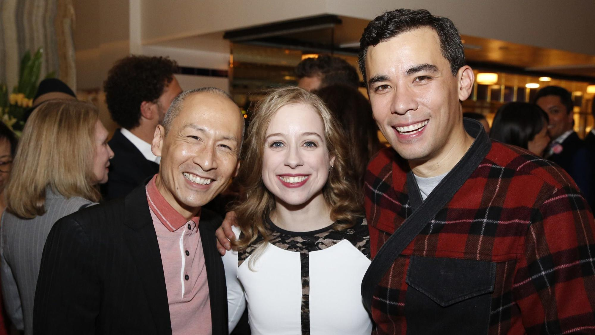 "At an after-party at Vespaio, Charlie Weber, left, and Liza Weil hang out with their ""How to Get Away With Murder"" co-star Conrad Ricamora, who's starring in David Henry Hwang an"