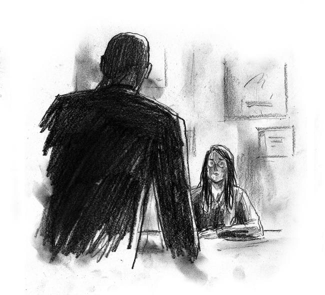 An illustration of a girl being interrogated