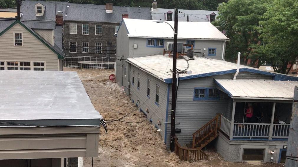 Ellicott City awash in flood waters as heavy rain drenches the Baltimore region