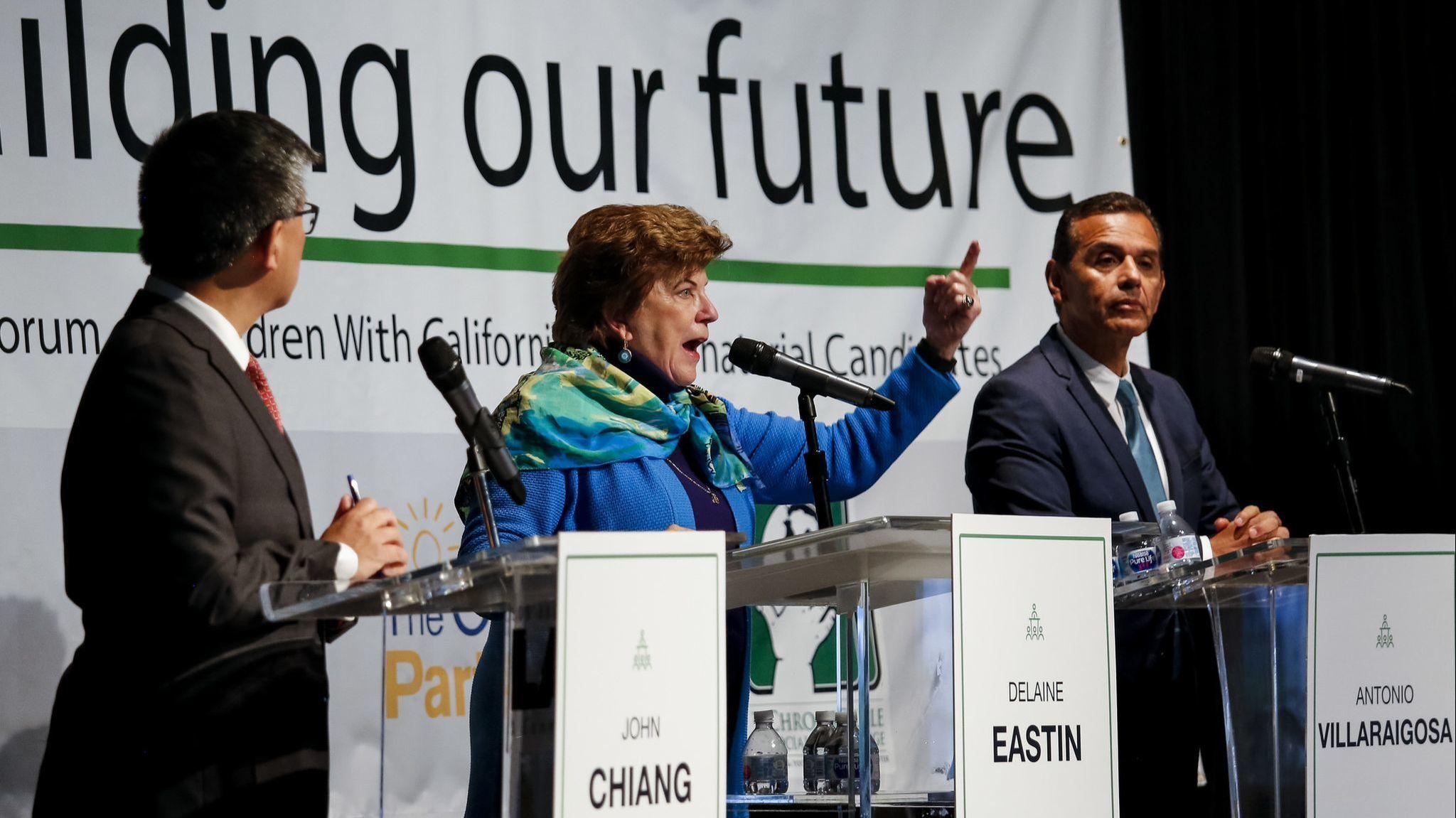 From top left: Lt. Gov. Gavin Newsom, former L.A. Mayor Antonio Villaraigosa, state Treasurer John Chiang. From bottom left: former state schools chief Delaine Eastin, John Cox,