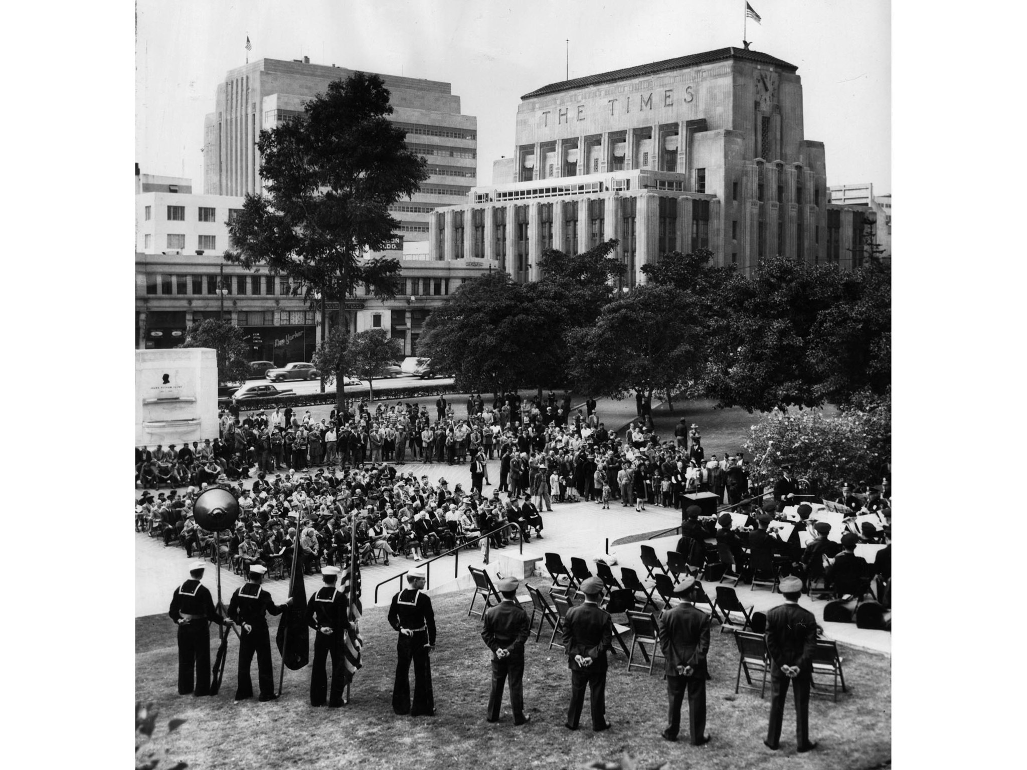 Nov. 12, 1951: Armistice Day activities conducted at Los Angeles City Hall with the Los Angeles Time
