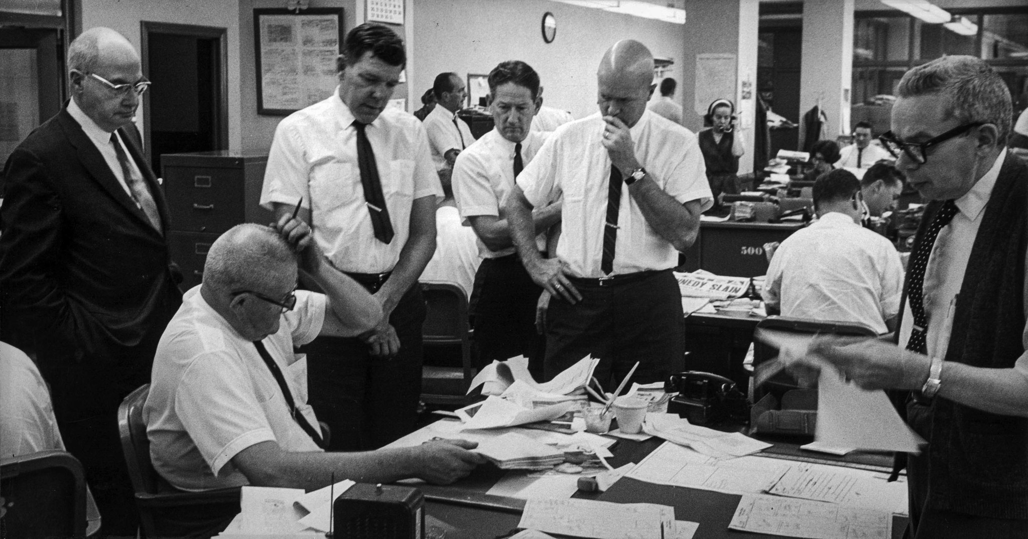 Los Angeles Times newsroom at 11:35 a.m. on Friday, Nov. 22, 1963. A copy of the Los Angeles Herald-
