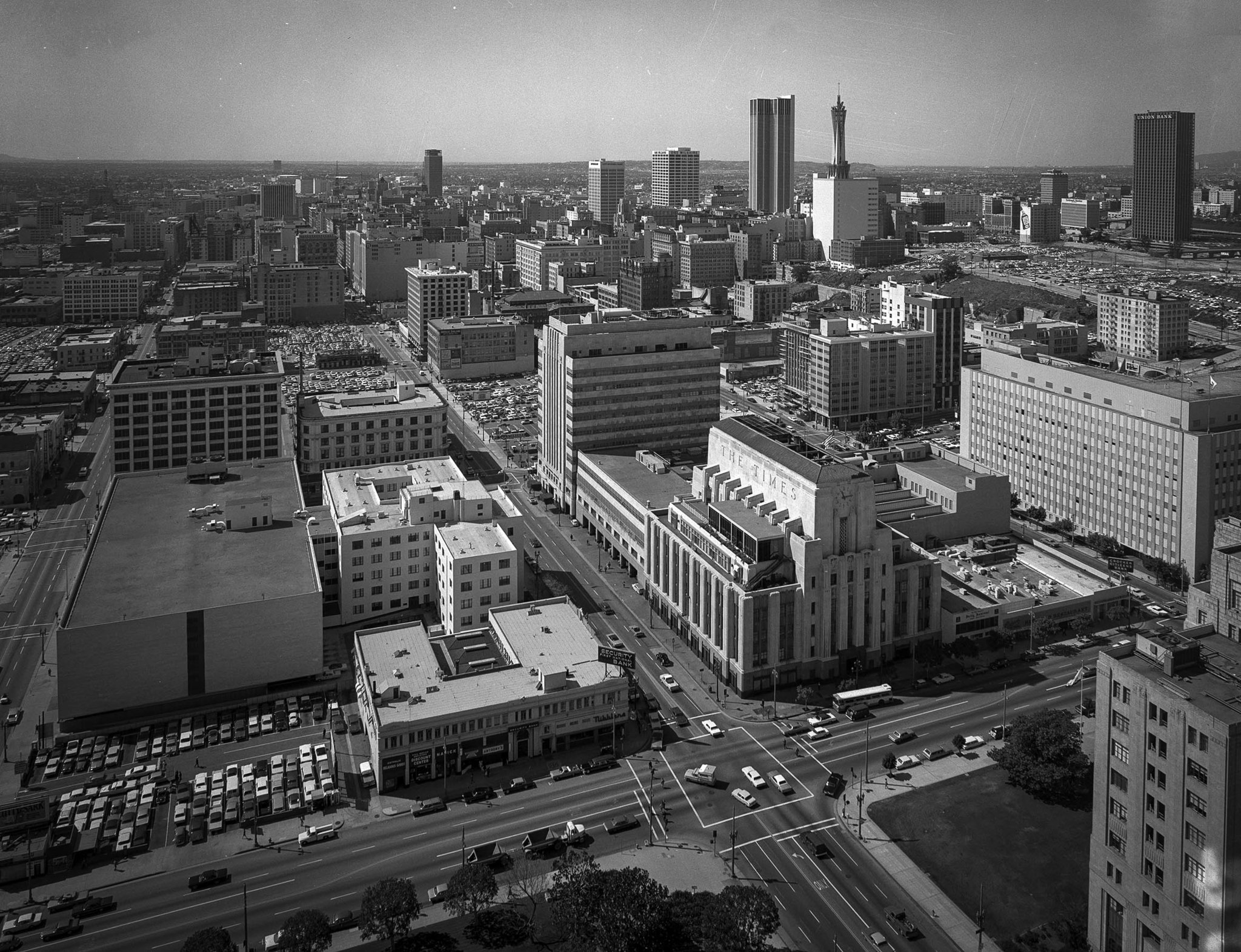 1970 photo of the Los Angeles Times Buildings from the top of Los Angeles City Hall. Photo taken fo