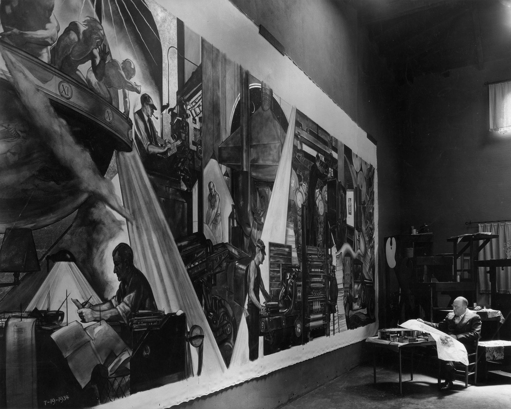 One of a set of four murals for the Los Angeles Times by Hugo Ballin, in photo on right. Print dated