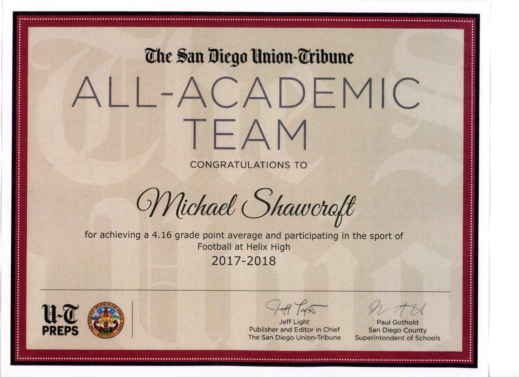 All-Academic Team certificate 2017-18